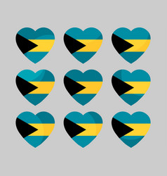 Heart with the flag of the bahamas icons i love vector