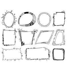Hand drawn fantasy frames set vector