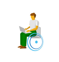 Man in wheelchair working with computer vector