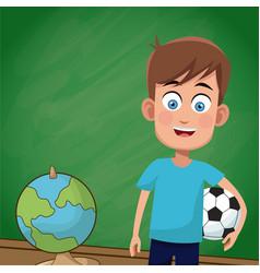 boy classroom chalkboard sport vector image