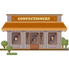 Confectionery shop facade stylish sweets boutique vector