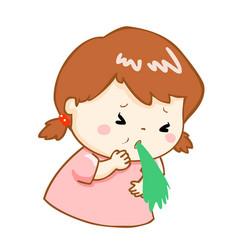 Ill girl vomiting cartoon vector