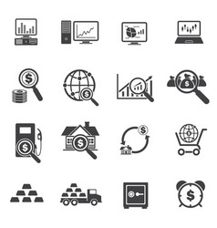 Big data and finance icons set vector