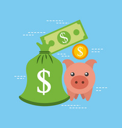 piggy banknote coin currency bank safety vector image