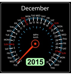 2015 year calendar speedometer car in  december vector