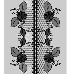 Abstract seamless black lace ribbon with floral vector