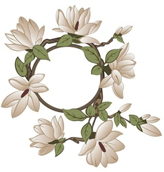Background with magnolia with frame vector