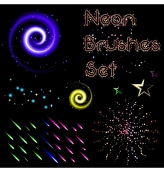 Set of neon brushes vector