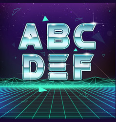 80s retro sci-fi font from a to f vector