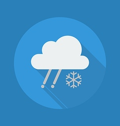 Weather flat icon rainy with snow vector