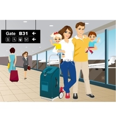 Happy couple with children in an airport vector