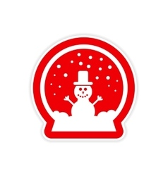 Paper sticker on white background snowman in snow vector