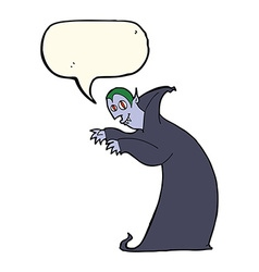 Cartoon spooky vampire with speech bubble vector