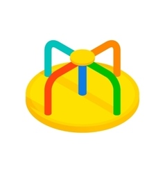 Colorful merry-go-round isometric 3d icon vector