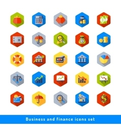 Business and finance icon set in flat vector