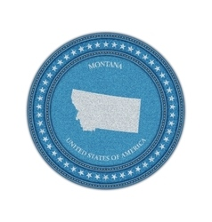Label with map of montana Denim style vector image