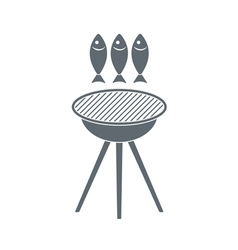 Barbecue fish icon vector