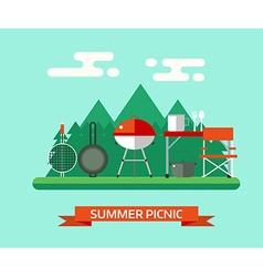 Family picnic or barbecue concept landscape vector
