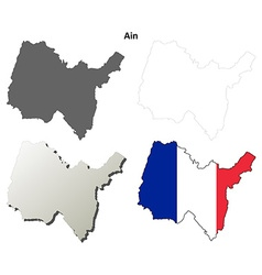 Ain rhone-alpes outline map set vector