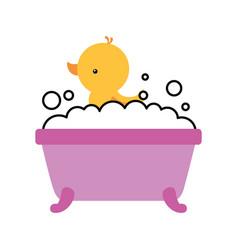 Bathtub and duck clean hygiene interior ceramic vector
