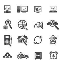 big data and finance icons set vector image