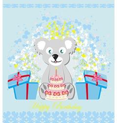 birthday card sweet teddy bear holding a birthday vector image