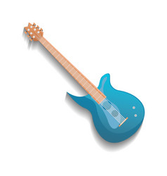 blue electronic guitar isolated icon vector image vector image