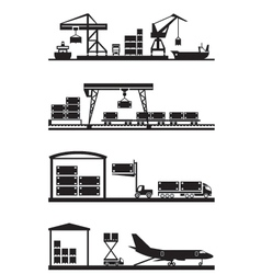 Cargo terminals icon set vector image vector image