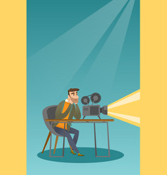 caucasian projectionist showing a new film vector image vector image