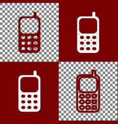 Cell phone sign bordo and white icons and vector