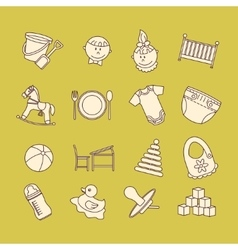 Child and baby care center color thin line icons vector image