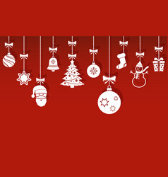 Christmas hanging ornaments with shadow on red vector