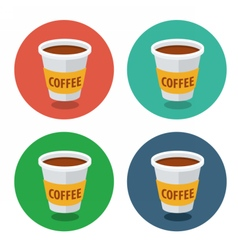 circle flat icon collection coffee vector image