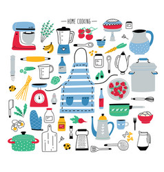Collection of hand drawn kitchen utensils manual vector