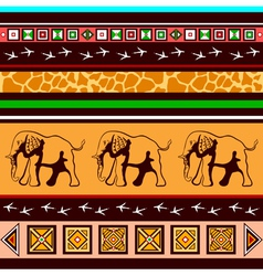 Ethnic pattern with elephants vector