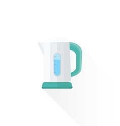 flat style white electric kettle vector image vector image