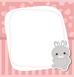 greeting card with cute rabbit greeting card vector image