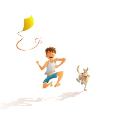 Guy with the dog running along the beach vector