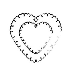 Heart label decoration empty sketch vector