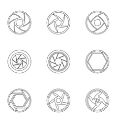 Kind of aperture icons set outline style vector