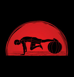 Man exercising fitness swiss ball vector
