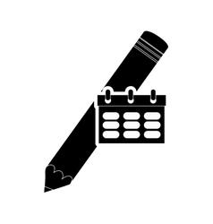 pencil and calendar icon vector image vector image