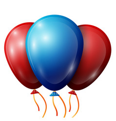 Realistic red blue balloons with ribbons vector