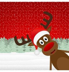 reindeer peeking side in the forest vector image vector image