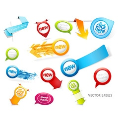 Set of colorful labels badges speech bubbles vector image