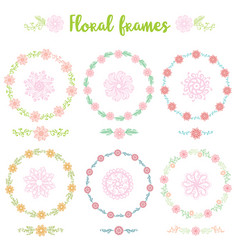 set of hand drawn vintage frame flowers vector image vector image