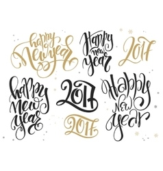 Set of hand lettering new year quotes - vector
