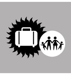silhouette family vacation suitcase icon vector image