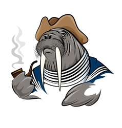 Smoking walrus vector