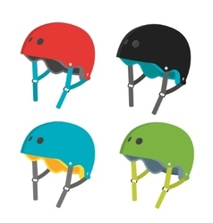 Flat helmets icons isolated on white vector